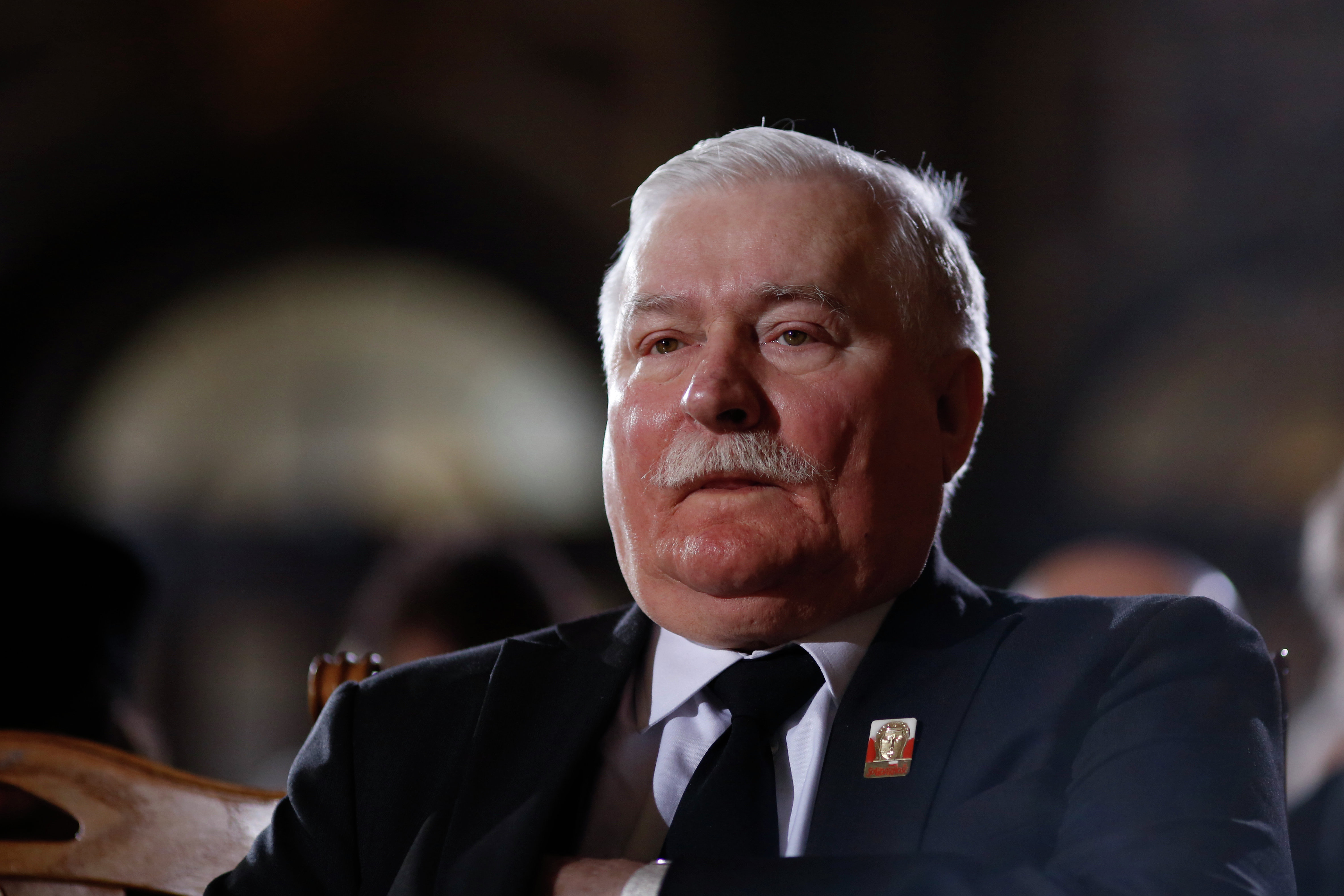 Former Polish President Lech Walesa attends the state funeral of the former German President Richard von Weizsaecker at Berlin Cathedral, the protestant church of Berlin on February 11, 2015