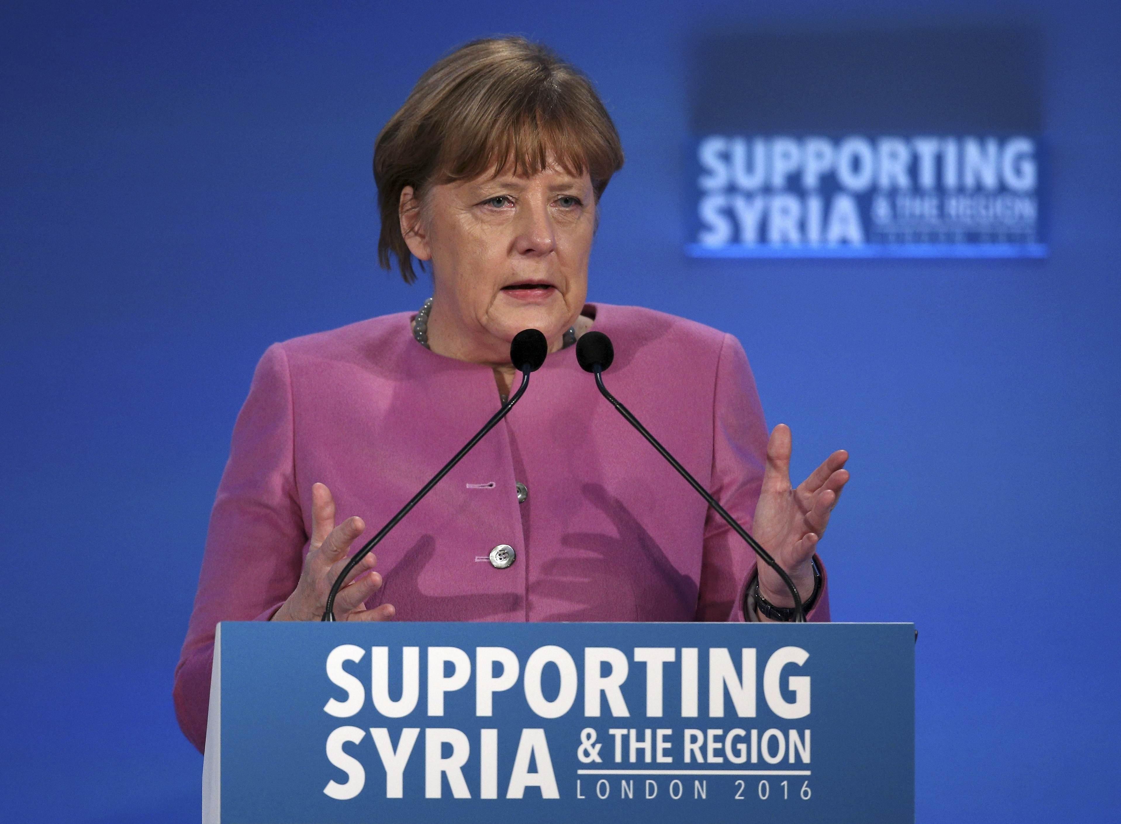 Bundeskanzlerin Angela Merkel bei der Syrien-Geberkonferenz in London