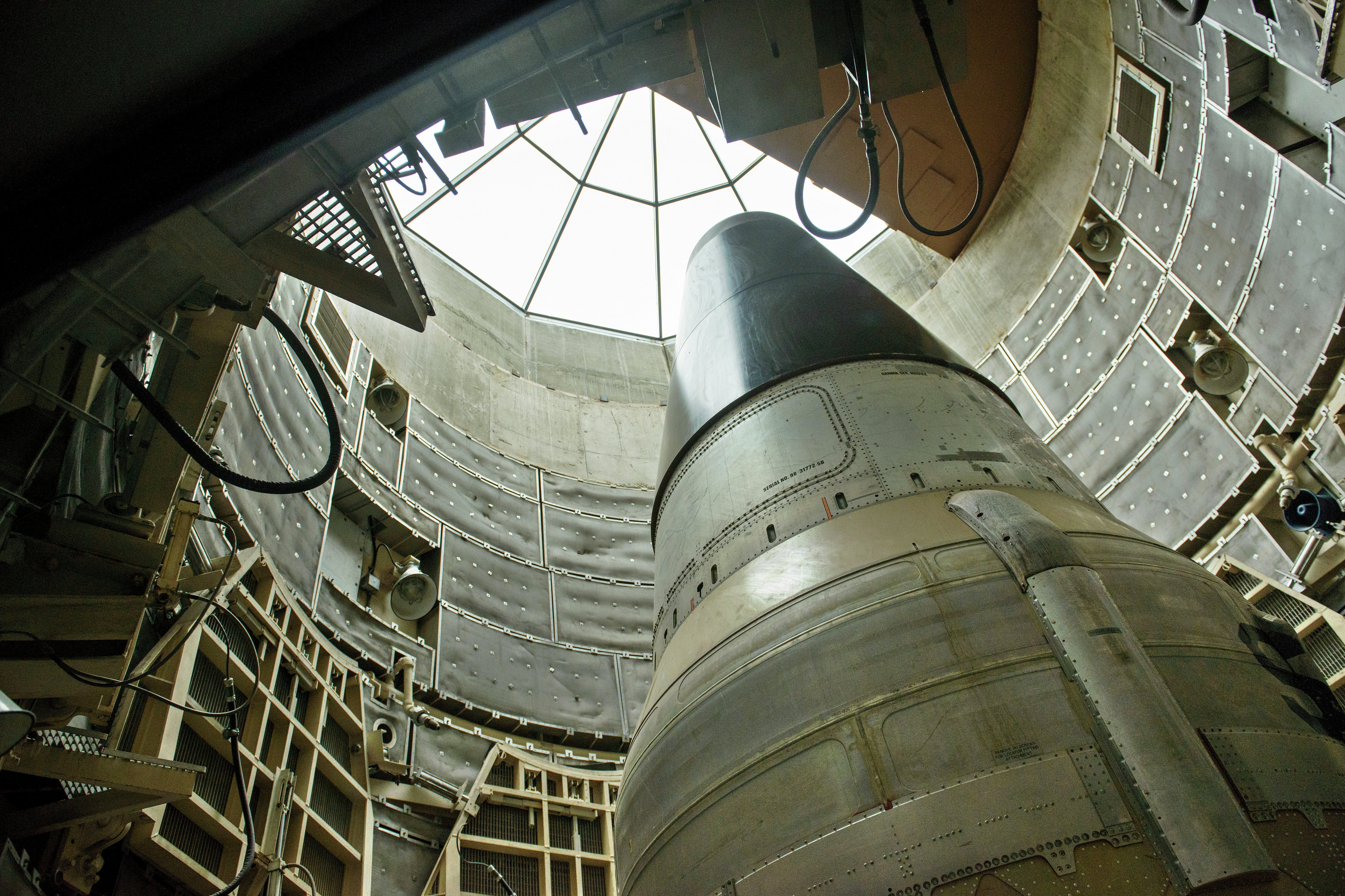 A deactivated Titan II nuclear ICMB is seen in a silo at the Titan Missile Museum on May 12, 2015 in Green Valley, Arizona. The museum is located in a preserved Titan II ICBM launch complex and is devoted to educating visitors about the Cold War and the Titan II missile's contribution as a nuclear deterrent.