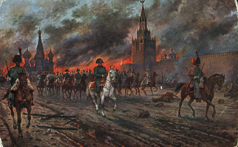 Napoleon's retreat from Moscow. Painting by Viktor Mazurovsky.