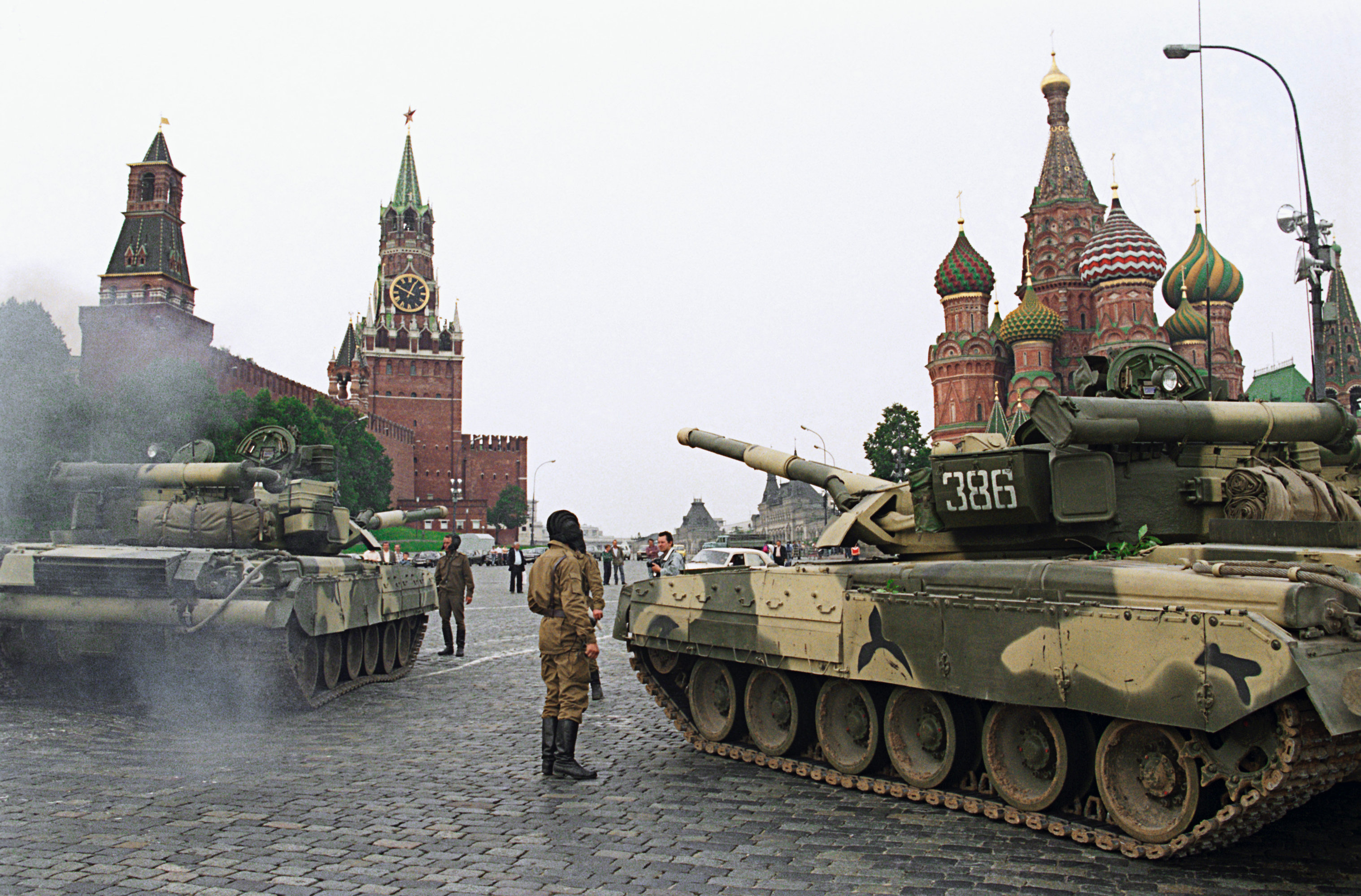 Tanks in the Red Square during the coup attempt on August 19, 1991